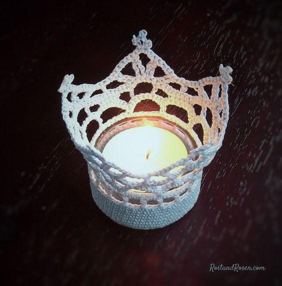 geh kelte teelicht kronen crochet. Black Bedroom Furniture Sets. Home Design Ideas