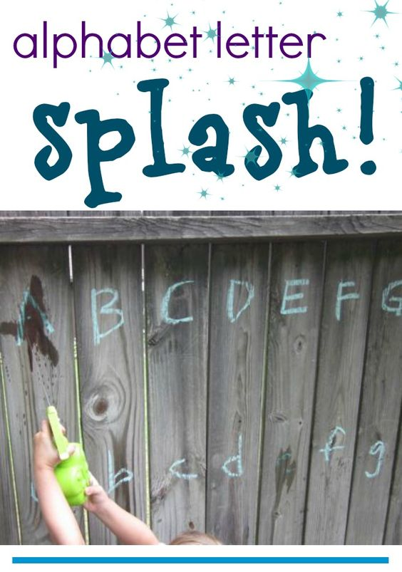 alphabet letter splash | play outdoors with the abcs #weteach #summerslide
