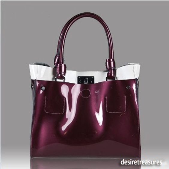 Shinny Genuine Italian Calf Leather HandBag Purple SALE #OEM #Satchel