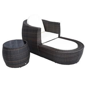 GBP £289.98]3PC Garden Rattan Weave Round Chair Sofa Seat ...