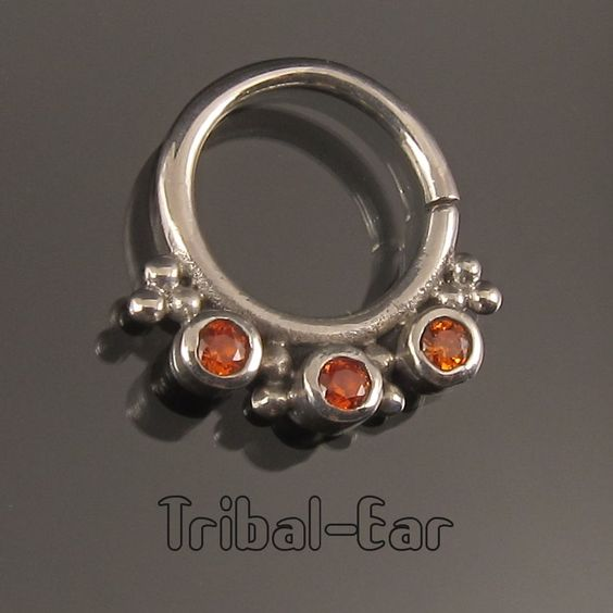 Septum Nose Ring Plain Silver Orange/Clear/Purple Zircon Piercing Body Anneau Nez Tribal Ear 060