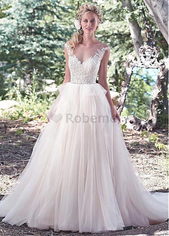 Robe de mariée a-ligne avec manche appliques avec manche tulle perle