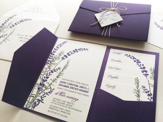 Lavender Wedding Invitation Sample, Purple Pocketfold Tags Twine Botanical Lavender Wedding Invitation, Fall Wedding Bridal Shower Printable