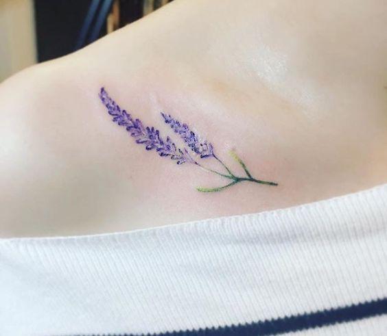 Lavender Clavicle Bone Tattoo Lavender Tattoo Lilac Tattoo Minimalist Tattoo