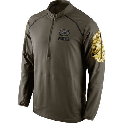 Men's Green Bay Packers Nike Olive Salute to Service Hybrid Half-Zip Performance Jacket