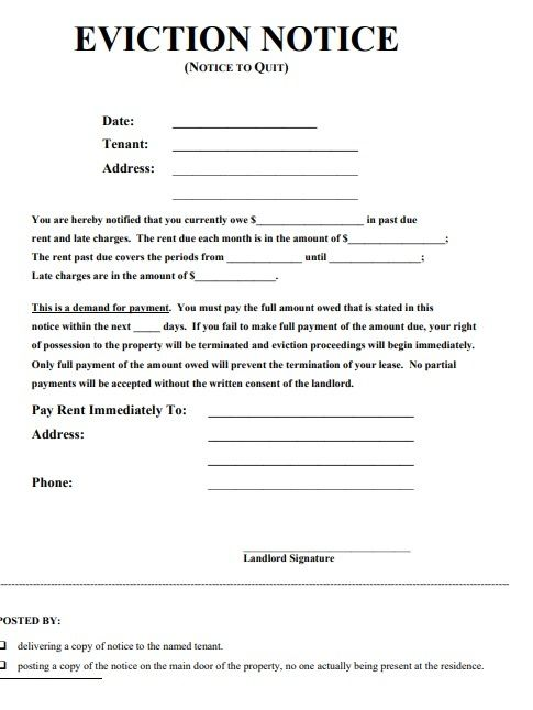 Eviction Notice Forms 17 Free Printable Word Pdf Formats Samples Examples Eviction Notice Being A Landlord Lease Agreement Free Printable