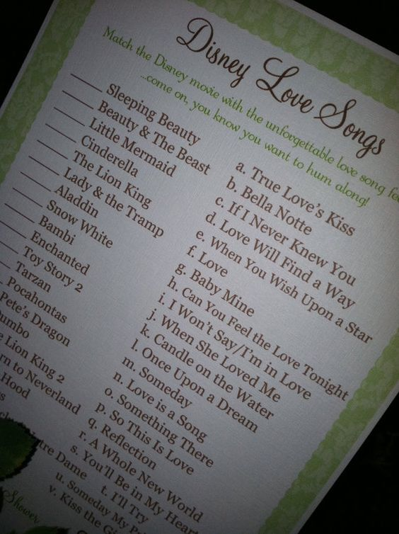 bridal shower games love songs shower games bridal disney baby showers