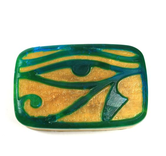 Eye of Horus/Eye of Ra soap, Egypt, Ancient Egypt, hieroglyphics, old relgion, Wadjet, history, mythology, vegan, custom, stargate. $5.00, via Etsy.