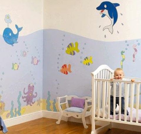 رسومات حوائط غرف أطفال 2020 صور مودرن ورسمات وتصميمات غاية في الروعة Ocean Themed Nursery Nursery Themes Nursery