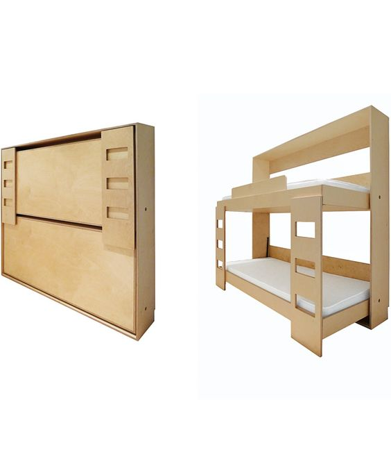 do it yourself double murphy bed this baltic birch bunk tucks into a 12 inch deep wall for an. Black Bedroom Furniture Sets. Home Design Ideas