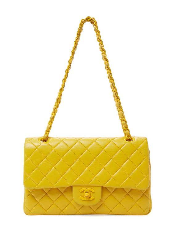 Yellow Quilted Lambskin Classic Flap Medium from Cool-Girl Vintage Accessories on Gilt