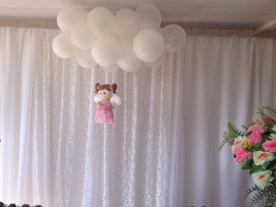 decoração batizado nuvens de balões by juliana campos guimarães