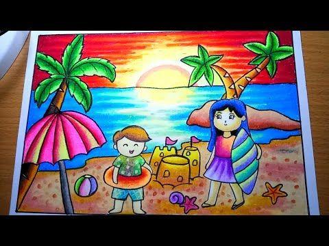 Cara Menggambar Pemandangan Sunset Di Pantai Drawing Sunset