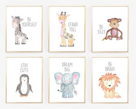 Watercolor Baby Animal Nursery Prints   Jane