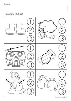 winter literacy worksheets and activities no prep circles syllable and activities. Black Bedroom Furniture Sets. Home Design Ideas