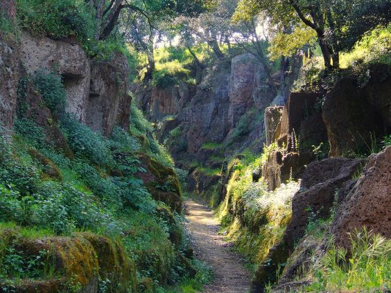 "The pathway to Cerveteri, an Etruscan city of the dead just outside Rome. The Etruscans believed in ""life"" after death and so created for them houses with all the necessities, including dining rooms, tools, pillows, even a little dog, all carved right into the stone."