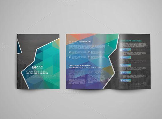 Bi Fold Brochure by Cristal Pioneer on Creative Market bifold - gate fold brochure mockup