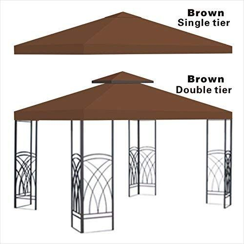 Replacement 10 X10 Gazebo Canopy Top Patio Pavilion Cover Sunshade Plyester Double Tiers Brown Want To Know M Gazebo Gazebo Replacement Canopy Gazebo Canopy