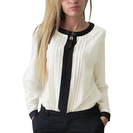 Moda Mujer Suelto Mangas Largas Blusa encantador de Gasa informal Camisa Prendas para el torso