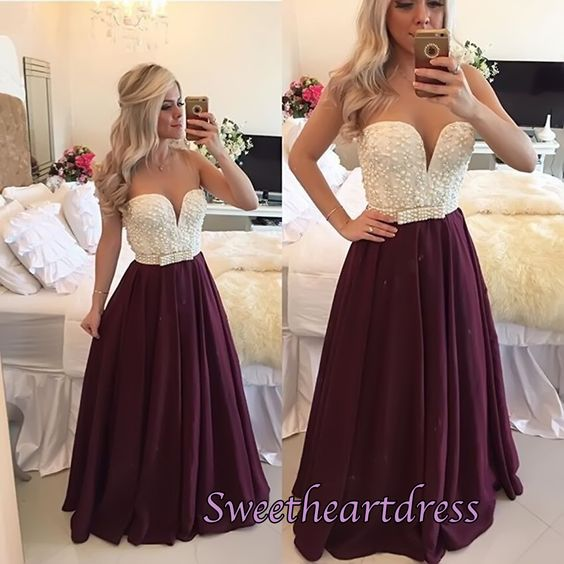 2016 Beautiful Burgundy chiffon Long Prom Dress With Pearls on top, modest prom dres, plus size dress #coniefox #2016prom