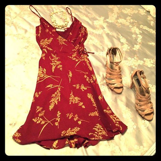 Kenar Wrap Dress 100% Silk Floral Print Wrap Dress in the latest Spring color merlot. Kenar Dresses Midi