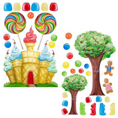 instant murals candyland tree amp castle wall mural stickers handpainted murals once upon a painted wall