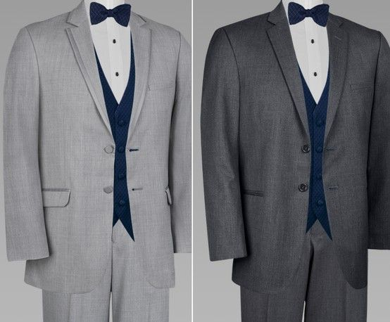 light vs dark grey suit with navy vest/tie | Men's Wedding Attire