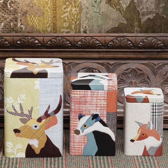beastie stag, badger and fox tin set by ginger rose | notonthehighstreet.com