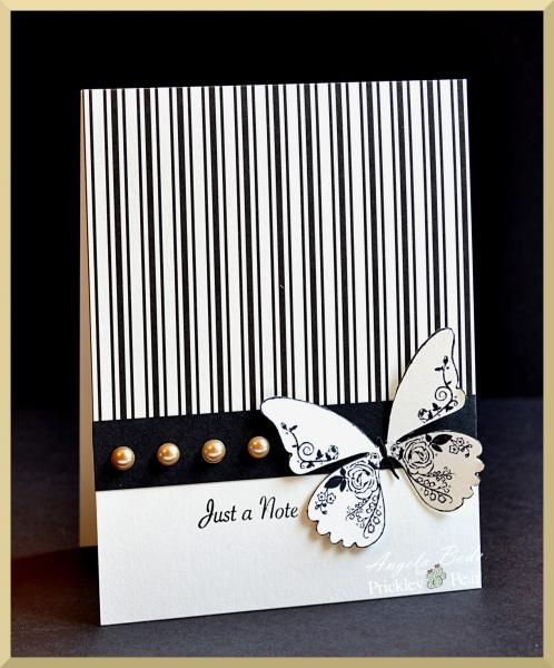 Just a not black and white butterfly card: