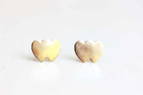 Double Heart Studs  14K Gold Fill by diamentdesigns on Etsy, $18.00