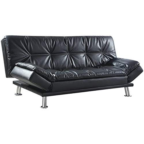 Bowery Hill Faux Leather Sleeper Sofa In Black And Chrome
