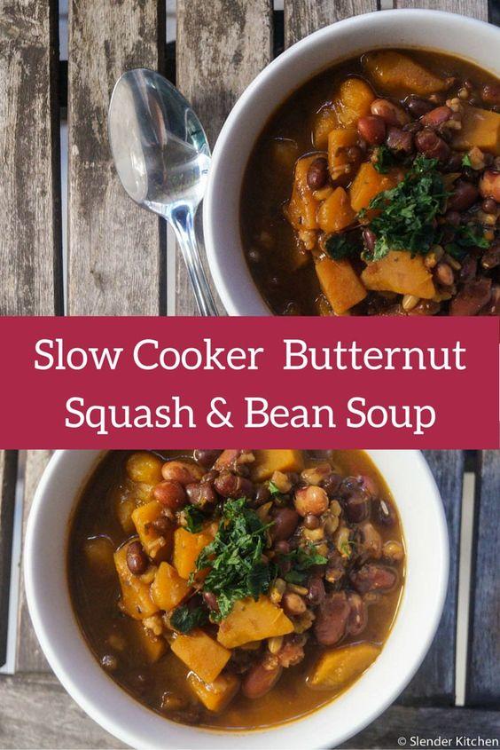 Slow Cooker Butternut Squash, Bean, and Barley Stew - Slender Kitchen
