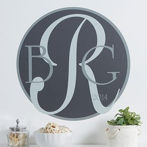 Monogram Personalized Wall Art Decal - this would look beautiful in your home! They come in a bunch of different colors! #Monogram #WallArt