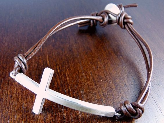Silver Cross Bracelet on Leather by mariaburgos on Etsy, $65.00
