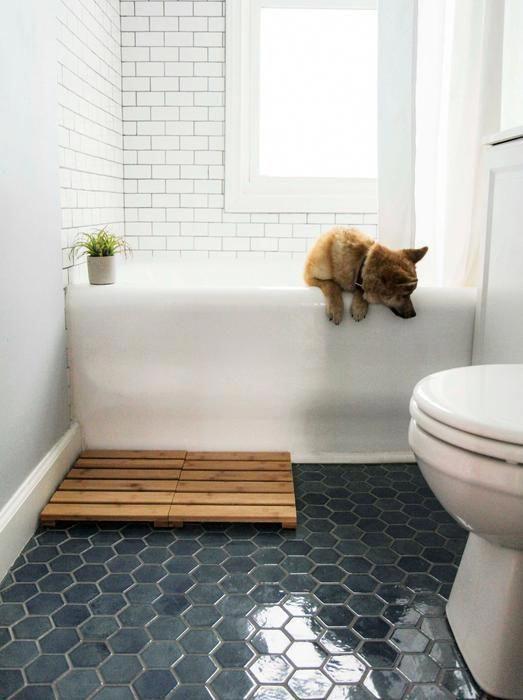 Denim Hexagon Tile | Blue Honeycomb Ceramic Tile – Mercury Mosaics #Bathroomfloor