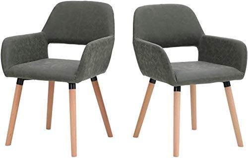 Buy Sophia William Dining Chairs Set 2 Modern Living Room Chair Mid Century Accent Chairs Water Resistant Nubuck Leather Solid Wood Legs Leisure Chairs Kitchen Home Furniture Online In 2020 Dining