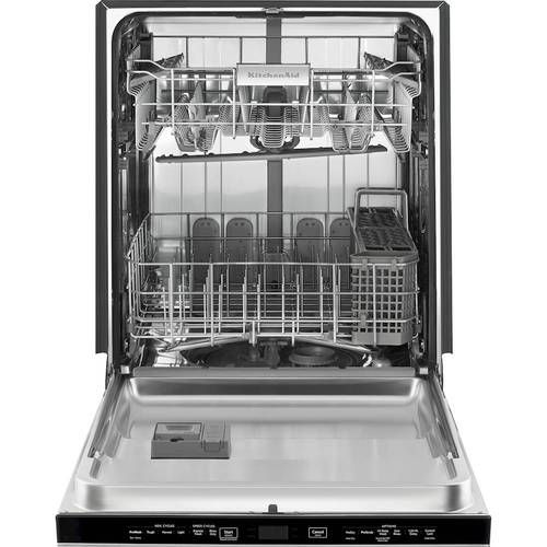 Kitchenaid 24 Top Control Tall Tub Built In Dishwasher With Stainless Steel Tub Black Stainless Steel Kdtm354ebs Best Buy Steel Tub Built In Dishwasher Kitchen Aid