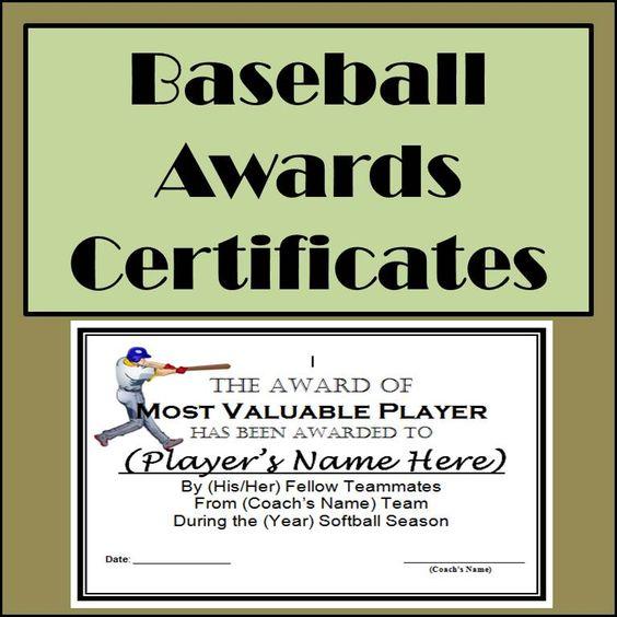 Baseball awards certificates 9 different awards toneelgroepblik Image collections