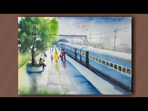 Painting Demo Of A Railway Station With Watercolour Composition