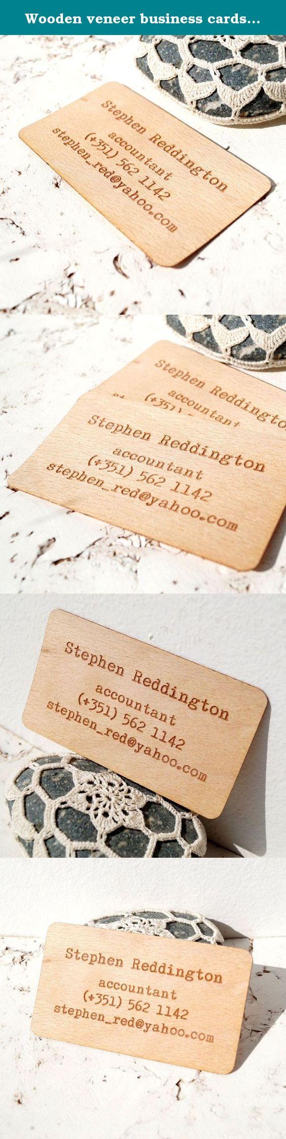 Wooden veneer business cards, engraved real wooden veneer business ...