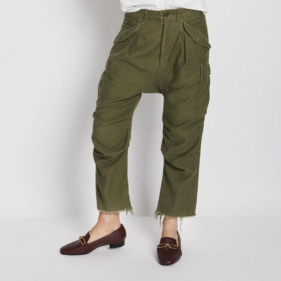 These cool military-inspired, low-slung, slouchy pants are endearingly tomboyish. They're perfect with sneakers or heels, and they're fitted at the waist, so if