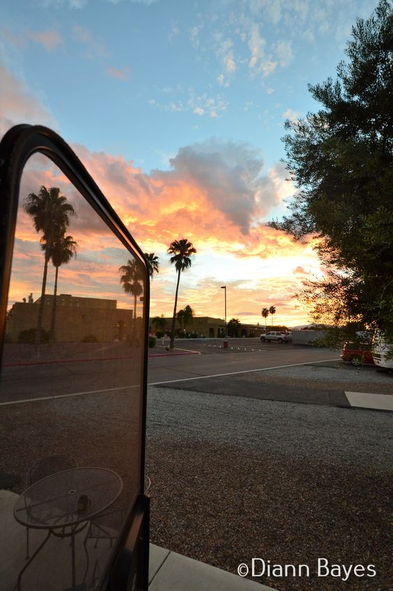 Sunrise through RV Door in Tucson, Arizona www.eccentricnomads.com