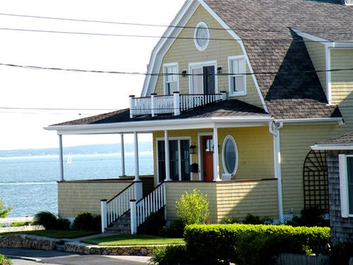 Dutch Colonial Yellow With Brown Roof Red Accents