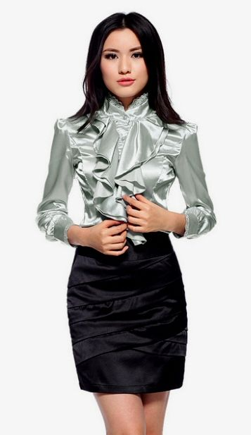 Just love this whole silky outfit for the office.