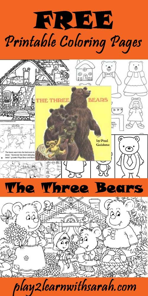 Three Bears Free Printable Coloring Pages Pinterest
