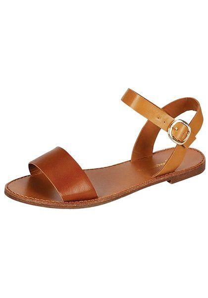 Breckelles Kylee-03 Single Strap Vegan Leather Sandal (5.5, Natural )
