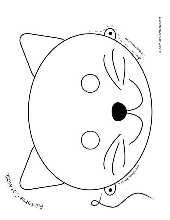 Printable Animal Masks: Cat Mask Cat Mask Coloring Page ...