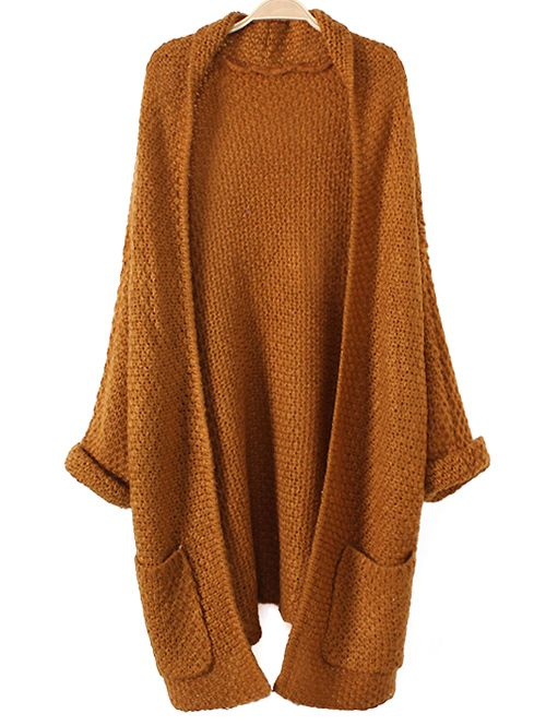 Rolled Cuff Pockets Long Cardigan | SWEATERS & CARDIGANS ...