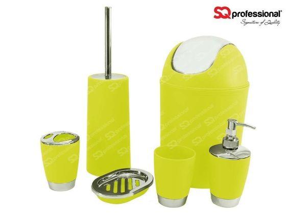 Set pour Salle de Bain 6pcs - VERT CITRON : distributeur de savon liquide, porte-savon, Porte-brosse à dents, Gobelet, Brosse WC, poubelle   #toilettes #WC #citron vert #vert #jaune #sqprofessional