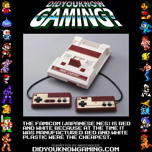 Did You Know Gaming? Nintendo Famicom http://gamez.itmedia.co.jp/games/articles/1010/07/news098.html  The article only mentions the red plastic being cheap, but most plastics are white by default, and color is added to them later (adding cost).